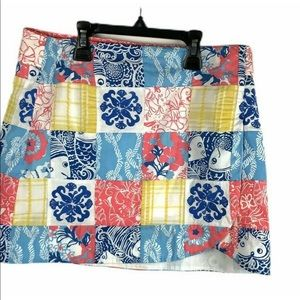 Lilly Pulitzer Faux Wrap Skort Patchwork